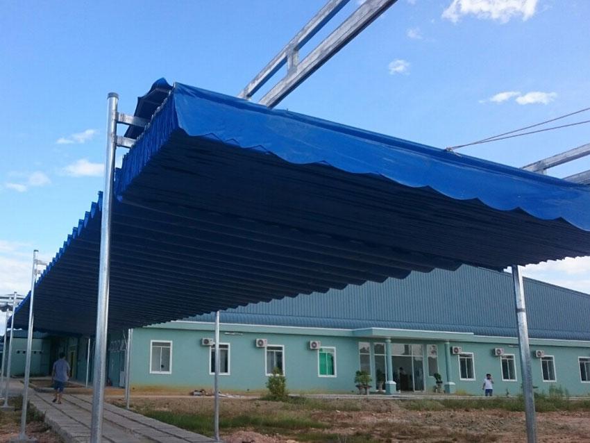 MÁI HIÊN loại 2 ( Hệ khung sườn nhôm, vải bạt dày chống Thấm nước PVC, mầu sắc tự chọn thời gian bảo hành 14 tháng)